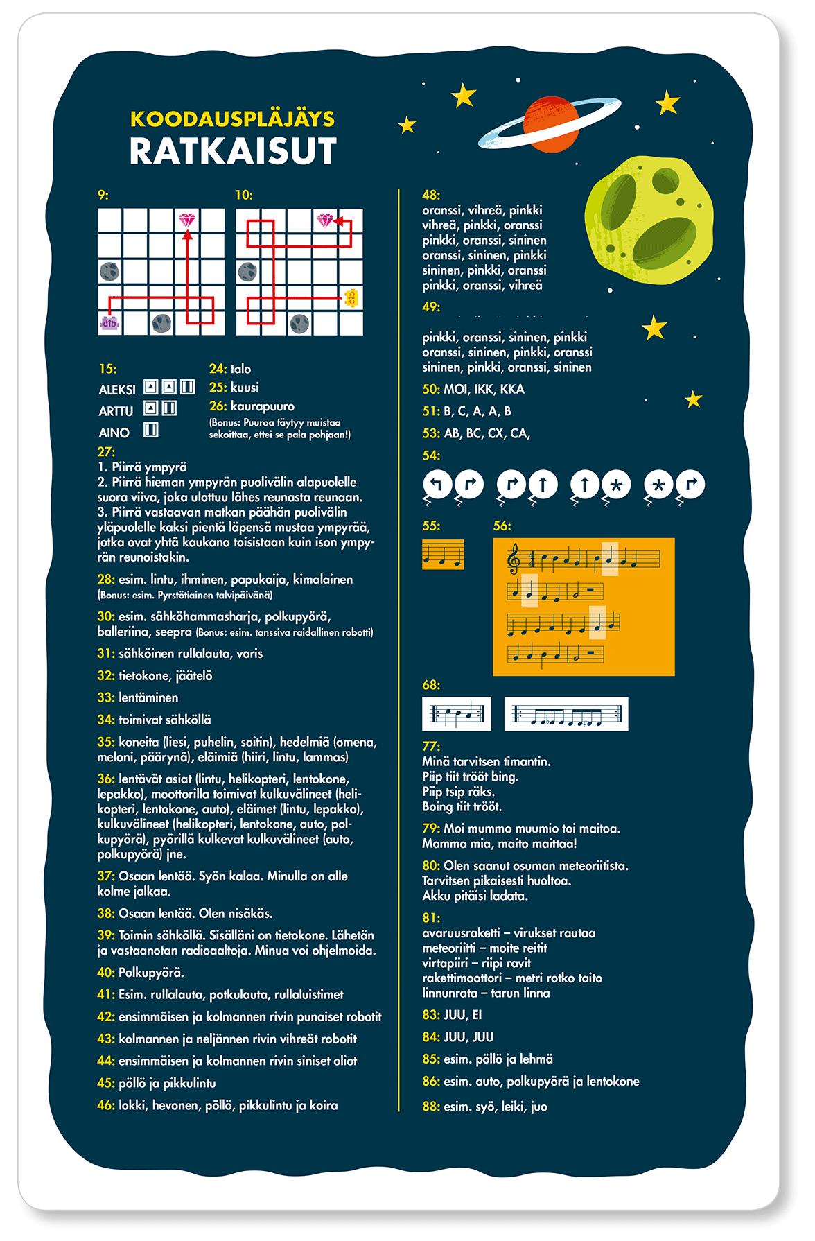 Koodauspläjäys-korttien ratkaisuja
